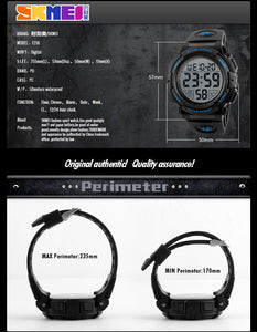 SKMEI Sports, Military Style Digital  Watch - Men's / Gents, 50m Water Resistant