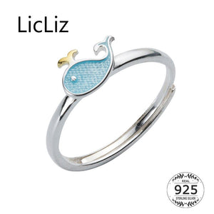 LicLiz Cute 925 Sterling Silver Whale Theme Adjustable Ring - Ladies / Women's, White Gold Plated