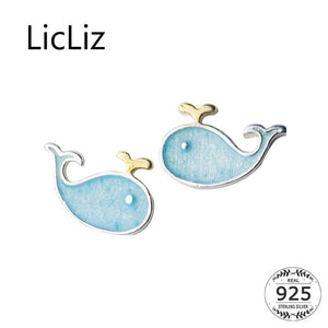 LicLiz Cute 925 Sterling Silver Whale Theme Stud Earrings - Ladies / Women's, White Gold Plated