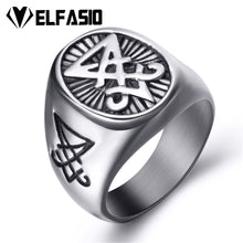 ELFASIO 316L Stainless Steel Gothic Style Sigil of Satan / Lucifer Theme Ring - Unisex