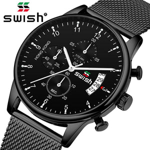 SWISH Top Brand Luxury Stainless Steel Quartz Casual Watch - Men's / Gents, Water Resistant
