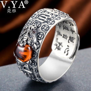 V.YA Vintage 925 Sterling Silver Adjustable Lucky Chinese Ring - Unisex, Red Garnet