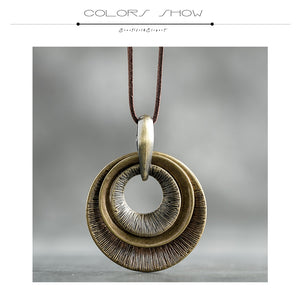 Z&R RETRO Metal Concentric Circle Theme Pendant / Necklace - Women's / Ladies