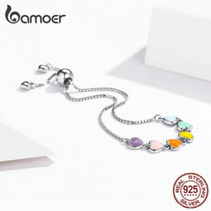 BAMOER Fashionable 925 Sterling Silver Heart Theme Adjustable Chain Bracelet - Ladies / Women