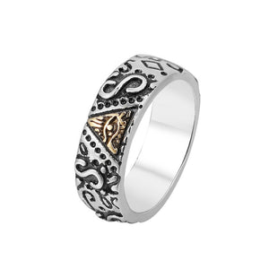 Stylish / Biker 316L Stainless Steel Egyptian / Eye of Horus / Ra Theme Engraved Ring