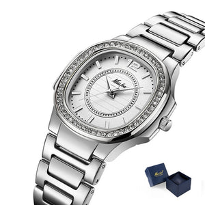 MISSFOX Designer Brand Analog 316L Stainless Steel Quartz Luxury Watch - Ladies / Women's, CZ