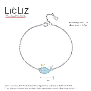 LicLiz Cute 925 Sterling Silver Whale Theme Adjustable Chain Bracelet - Ladies / Women's, White Gold Plated