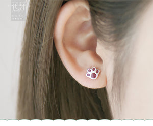 THAYA Cute 925 Sterling Silver Handmade Cat & Paw Asymmetric Earrings - Ladies / Women's