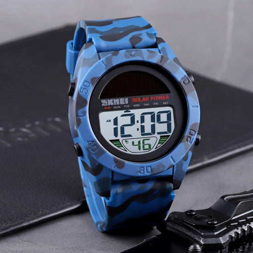 SKMEI Military / Sports PU Plastic Solar Powered LED Digital Watch - Men's / Gents, 50m Water Resistant