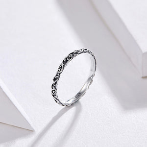 BAMOER Elegant 925 Tibetan Sterling Silver Engraved Leaf / Vine Pattern Theme Ring - Ladies / Women's