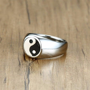 VNOX Retro Stainless Steel Ying & Yang / Buddhism Theme Ring - Unisex, Men's, Women's