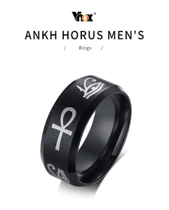 VNOX Trendy Egyptian Theme Stainless Steel Eye of Horus & Ankh Cross Ring - Men's / Gents