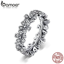BAMOER Elegant 925 Sterling Silver Dazzling Daisy Flower Themed Ring - Ladies / Gent's, CZ