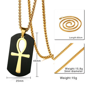 VNOX Trendy Stainless Steel Removable Ankh Cross Theme Pendant / Necklace - Men's / Gents