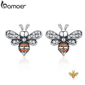 BAMOER Cute 925 Sterling Silver Bee Story Themed Stud Earrings - Ladies / Women's, CZ, Gold Plated