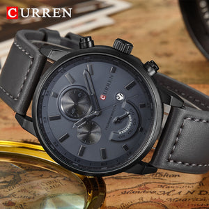 CURREN Fashionable Sports Japanese Quartz Watch - Men's / Gents, Leather, Water Resistance, Hardlex