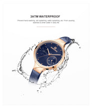 NAVIFORCE Elegant Japanese Quartz Watch - Ladies / Women's, Water Resistant (30m), Leather, Hardex