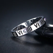 VNOX Elegant 304 Stainless Steel Roman Numeral Theme Ring - Ladies / Women, CZ