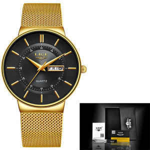 LIGE Luxury / Designer Stainless Steel Analog Quartz Watch - Men's / Gents, Water Resistance 30m