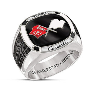 FOYDJEW Fashionable / Trendy Silver Plated Chevrolet Corvette Theme Ring - Men's / Gents