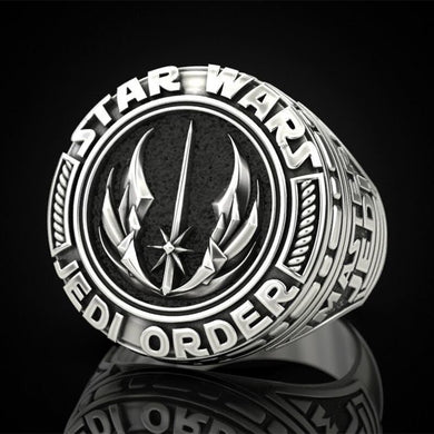 ZHIXUN Retro Vintage Silver Plated Star Wars Jedi Order Themed Ring - Unisex