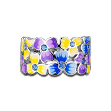 FOYDJEW Elegant, Delicate, Spring / Summer Cloisonne Flowers Theme Ring - Ladies / Women's, CZ