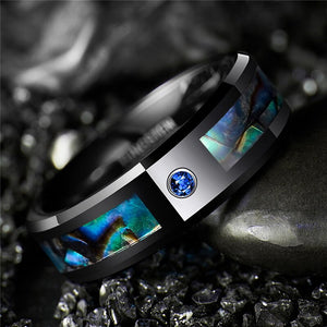 BONLAVIE Trendy Tungsten Carbide with Inlaid Abalone Shell Ring - Unisex, Blue CZ