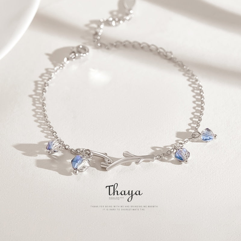 THAYA Exquisite / Elegant 925 Sterling Silver Twilight Forest Symphony Charm Bracelet - Ladies / Women's