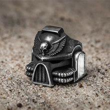 EYHIMD Gothic 316L Stainless Steel Warhammer 40,000, Space Marine Helmet Theme Ring - Men's / Gents
