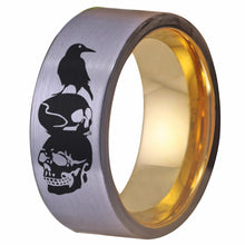 YGK Gothic / Biker 10mm Tungsten Carbide Silver Raven & Skull Themed Ring - Unisex, Men's, Women's