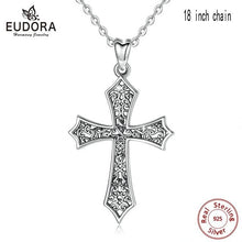 EUDORA Antique / Gothic 925 Sterling Silver Ornate Religious Cross Necklace / Pendant - Ladies / Women's