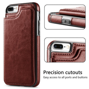 KISSCASE Retro PU Flip Leather Case for Apple iPhone (12, 11, X, XR, XS, 8, 7, Pro, Max, Plus) - Dirt Resistant, Card Holder
