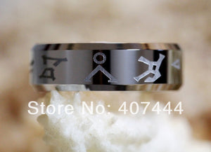 YGK Attractive 8mm Polished Silver Beveled Stargate Chevron Address Theme Unisex Ring - Tungsten Carbide