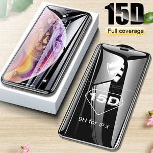 15D Full Cover Tempered Glass / Film Screen Protector - Apple iPhone 12 11 X XR XS 8 7 6 S Plus Max Pro