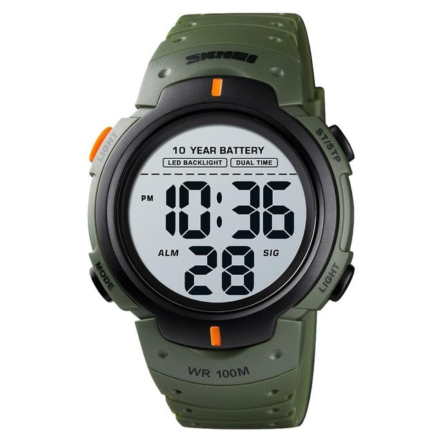 SKMEI Outdoor Sports Digital LED ABS Plastic Watch - Men / Gents, 100M Water Resistant