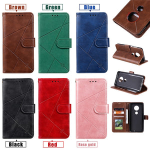 Luxury, Vintage Style PU Leather Flip Case / Wallet for Motorola Phone - Moto E5 E6 G6 G7 G8 Play Power Plus