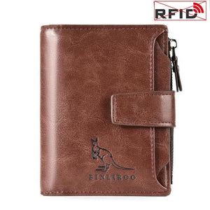 BINLIROO Classic Genuine Leather Anti-Theft Short Wallet - Men's / Gents, RFID Blocking