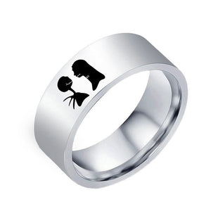 "Trendy, ""The Nightmare Before Christmas"" Jack & Sally Titanium Theme Ring - Unisex"