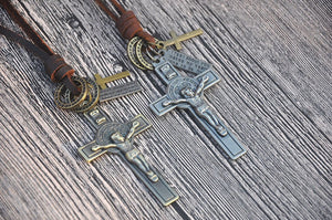COOSTUFF Punk Religious Jesus Cross Necklace / Pendant - Ladies / Women's, Leather Cord