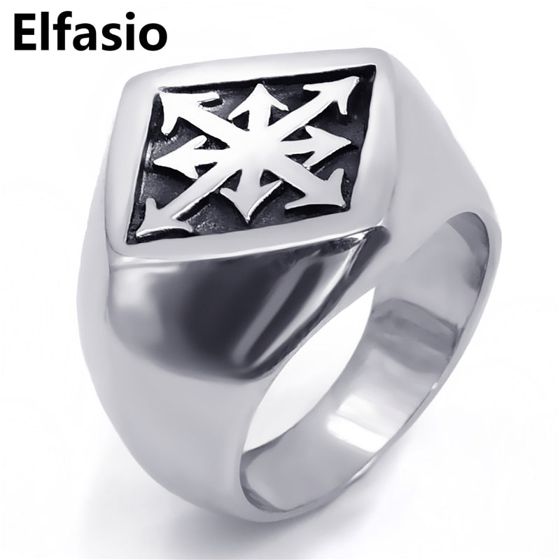 ELFASIO 316L Stainless Steel Gothic Style Eight Point Chaos Star Theme Ring - Unisex