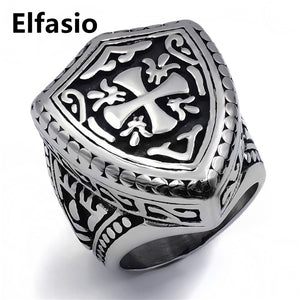 ELFASIO 316L Stainless Silver Gothic Style Shield & Cross Ring - Unisex