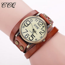 CCQ Vintage Style Fashion Quartz Ladies / Womens Watch - Leather, Stainless Steel