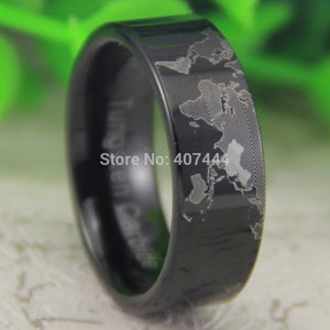 YGK Trendy 8mm Tungsten Carbide World Map Black Ring - Unisex, Men's, Women's