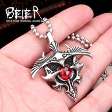 BEIER Retro / Punk 316L Stainless Steel Eagle / Red Stone Theme Necklace / Pendant