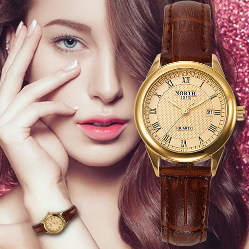 NORTH Luxury Ladies / Womens Dress Watch - Water Resistant (30M), Dual Quartz, Hardlex, Genuine Leather