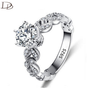 DODO & HIHANG 925 Sterling Silver ladies Ring with 1.5 Carat AAA Cubic Zircon & Crystal Leaves - Jewellery, Weddings, Engagements