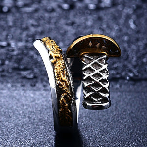 BEIER Trendy 316L Stainless Steel Samurai Sword / Japanese Theme Ring - Men's / Gents