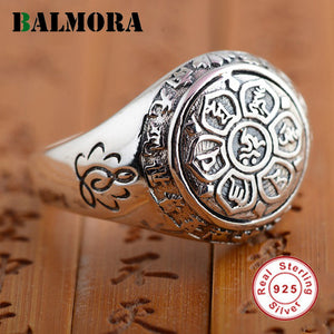 BALMORA 925 Sterling Silver Buddhism Six Words Mantra Unisex Ring - Vintage Jewellery
