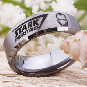 "YGK Trendy Marvel's Iron Man ""Stark Industries"" Tungsten Carbide 8mm Ring - Unisex, Men, Women"