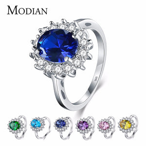 Modian Solid 925 Sterling Silver Ladies / Women's Ring with 2.0Ct Cubic Zirconia Crystal